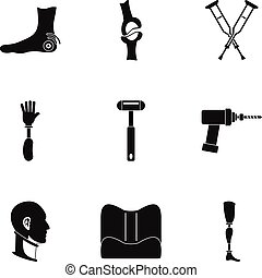 Orthopedic disease icon set, simple style - Orthopedic...