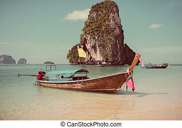 Long tail boat. Krabi. Thailand.2016 - Boat on the beach ins...