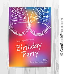 Birthday party invitation card. Teenage party flyer.