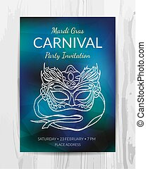 Carnival party invitation card. Mardi Gras party flyer.
