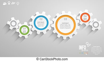 gear wheels info graphic for cooperation or teamwork...