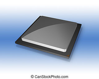 3D CPU computer processor chip isolated with clipping path