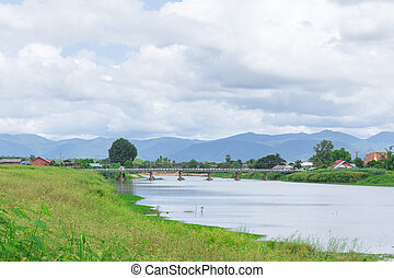 river view mountain travel location countryside in rural of...