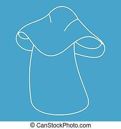 Boletus icon, outline style - Boletus icon blue outline...