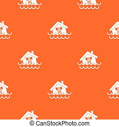 House sinking in a water pattern seamless