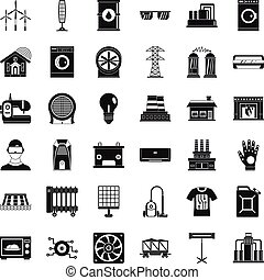 Electrical equipment icons set, simple style - Electrical...