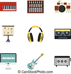 Sound studio icon set, flat style