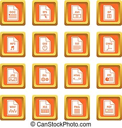 File format icons set orange