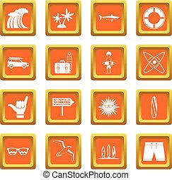 Surfing icons set orange