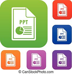 File PPT set collection - File PPT set icon in different...