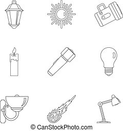 Sources of light icon set, outline style