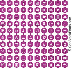 100 water supply icons hexagon violet - 100 water supply...
