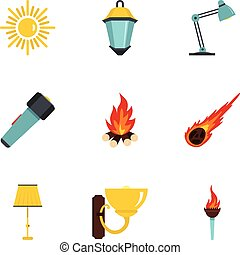 Sources of light icon set, flat style