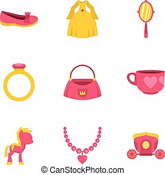 Princess accessories icon set, flat style - Princess...