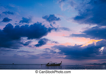 Long tail boat. Krabi. Thailand.2016 - Silhouette of the...