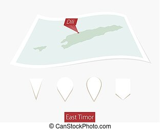 Curved paper map of East Timor with capital Dili on Gray...