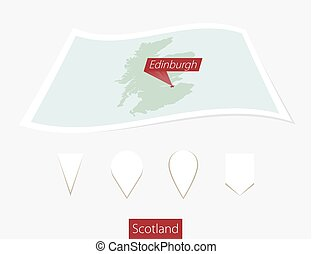 Curved paper map of Scotland with capital Edinburgh on Gray Background. Four different Map pin set.