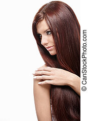 Fatal Beauty - Attractive girl with beautiful hair on a...