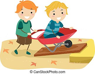 Stickman Kids Inclined Plane Wheel Barrow Boys Illustration