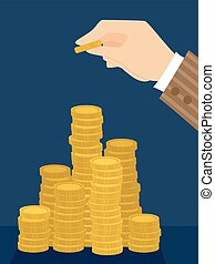 Hand Coin Tower Stack Illustration - Illustration of a Hand...