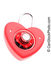 Love lock isolated over white