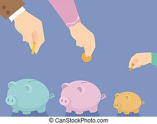 Hands Family Piggy Bank Save Illustration - Illustration of...