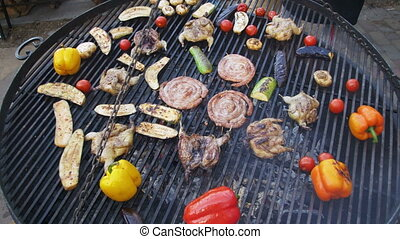 Top View of the Cooking Barbecue Delicious and Vegetables on...