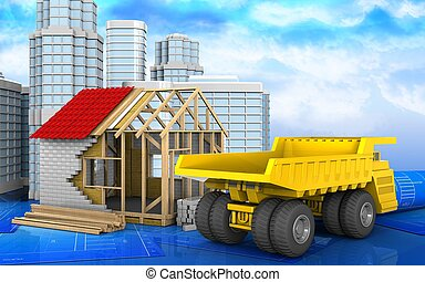 3d of heavy truck - 3d illustration of frame house with...