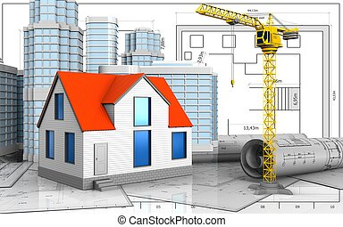 3d of crane - 3d illustration of generic house with urban...