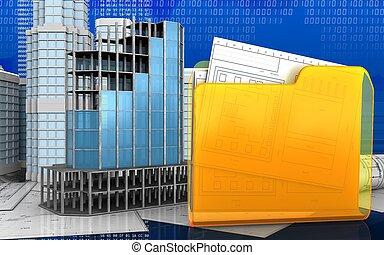 3d of folder - 3d illustration of modern building frame with...