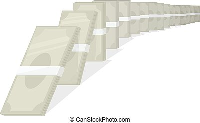 Money Domino Effect Illustration - Concept Illustration of...