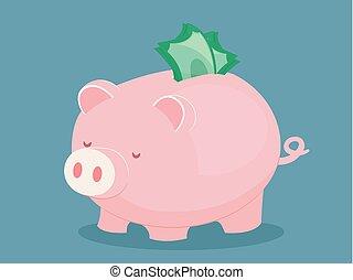 Piggy Bank Money Illustration - Illustration of a Pink Piggy...