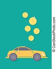 Save Money Car Illustration - Concept Illustration of Dollar...