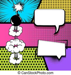 Pop art strip comic text speech bubble bomb - Vector...