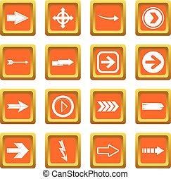 Arrow icons set orange