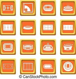 Sport stadium icons set orange