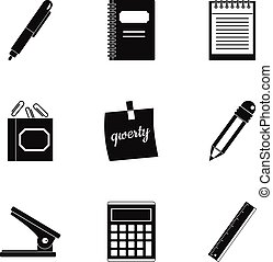 Stationery icon set, simple style