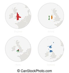 England, Ireland, Wales, Scotland map contour and national flag in a circle.