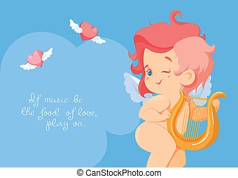 Cupid playing love song music on hurp. - cupid with making...