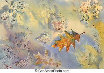maple leaf watercolor bakground - maple leaf on autumn...