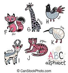 Animals alphabet F - K for children
