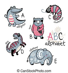 Animals alphabet A - E for children