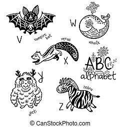 Animals alphabet V - Z for children. Vector coloring page