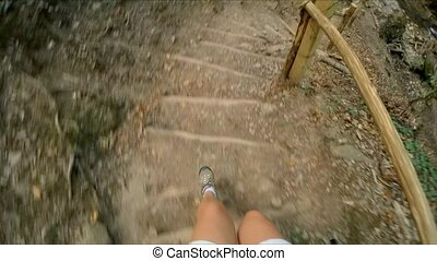 The girl's legs of a tourist action camera