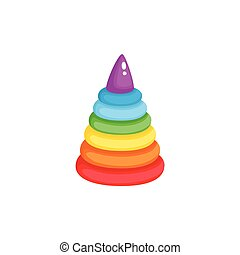 Vector pyramid toy flat illustration isolated