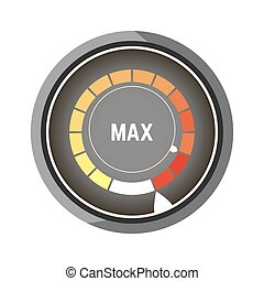 Round speedometer with bars from yellow to red