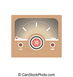 Square retro style speedometer with low and high indicators