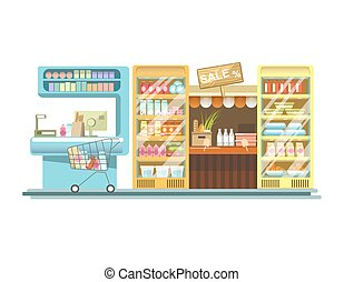 Shop counters of supermarket store product stands vector flat rack displays