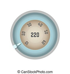 Round speedometer with pointer that moves and shows number
