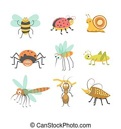 Funny cartoon insects and bugs vector isolated characters...
